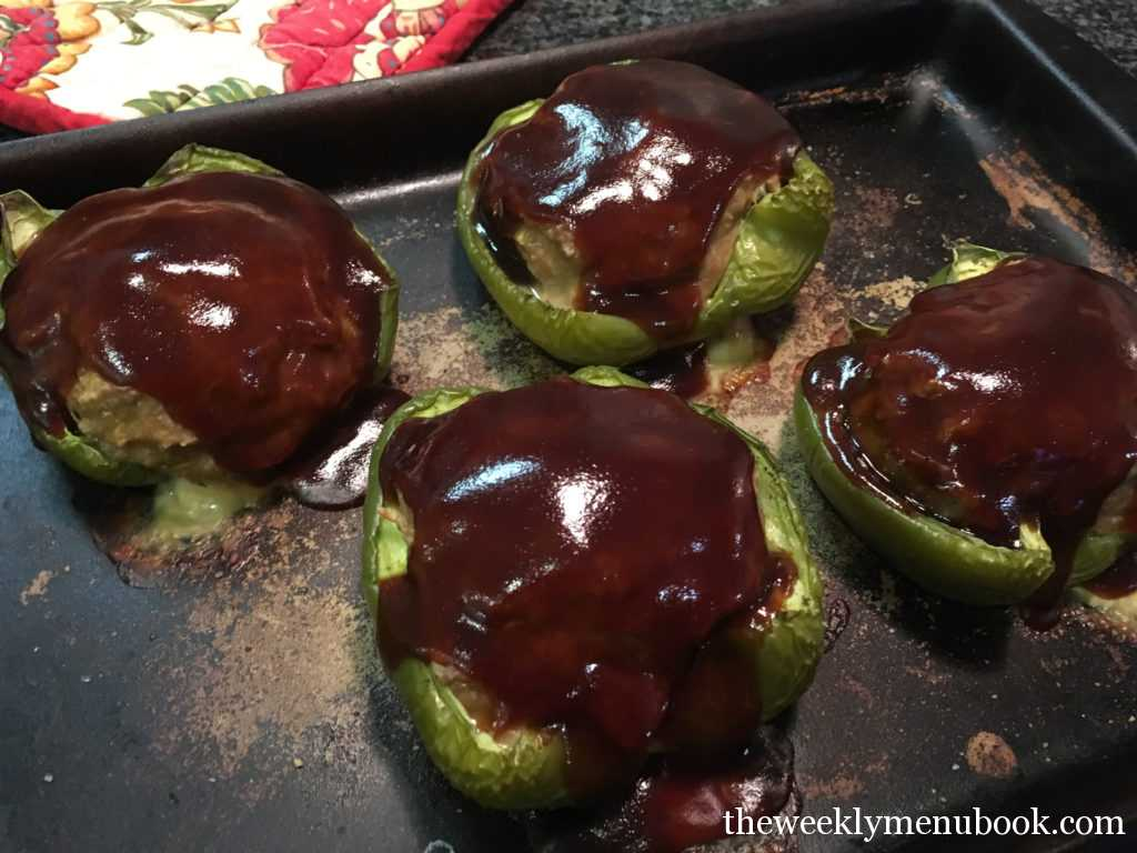 gluten-free meatloaf stuffed peppers with squash and oats