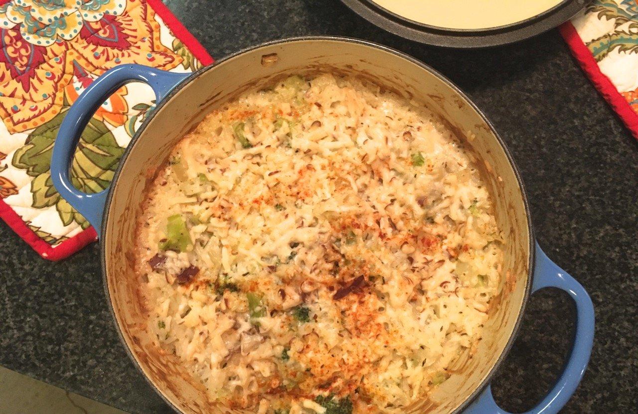 Gluten-free Smoked Gouda Goat Cheese Broccoli Rice