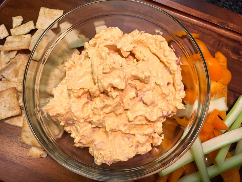 Smoky pimento cheese made with smoked flavor hard goat cheese.