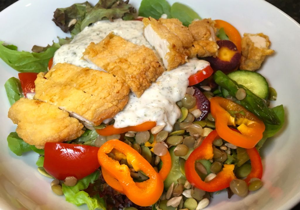 Healthified fried chicken salad with goat milk yogurt ranch dressing