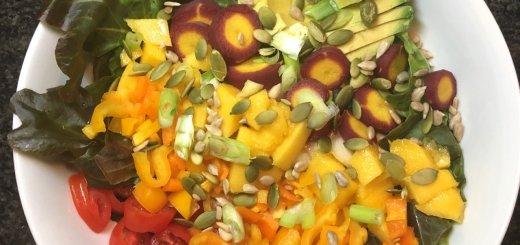 salad with mango, black beans, wild rice, avocado, tomato, and more veggies