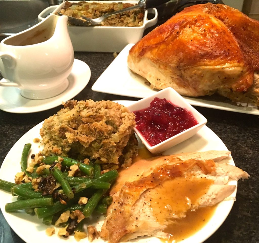 gluten-free dairy-free roasted turkey using Martha Stewart's roasting 101 method, gluten-free stuffing and sides