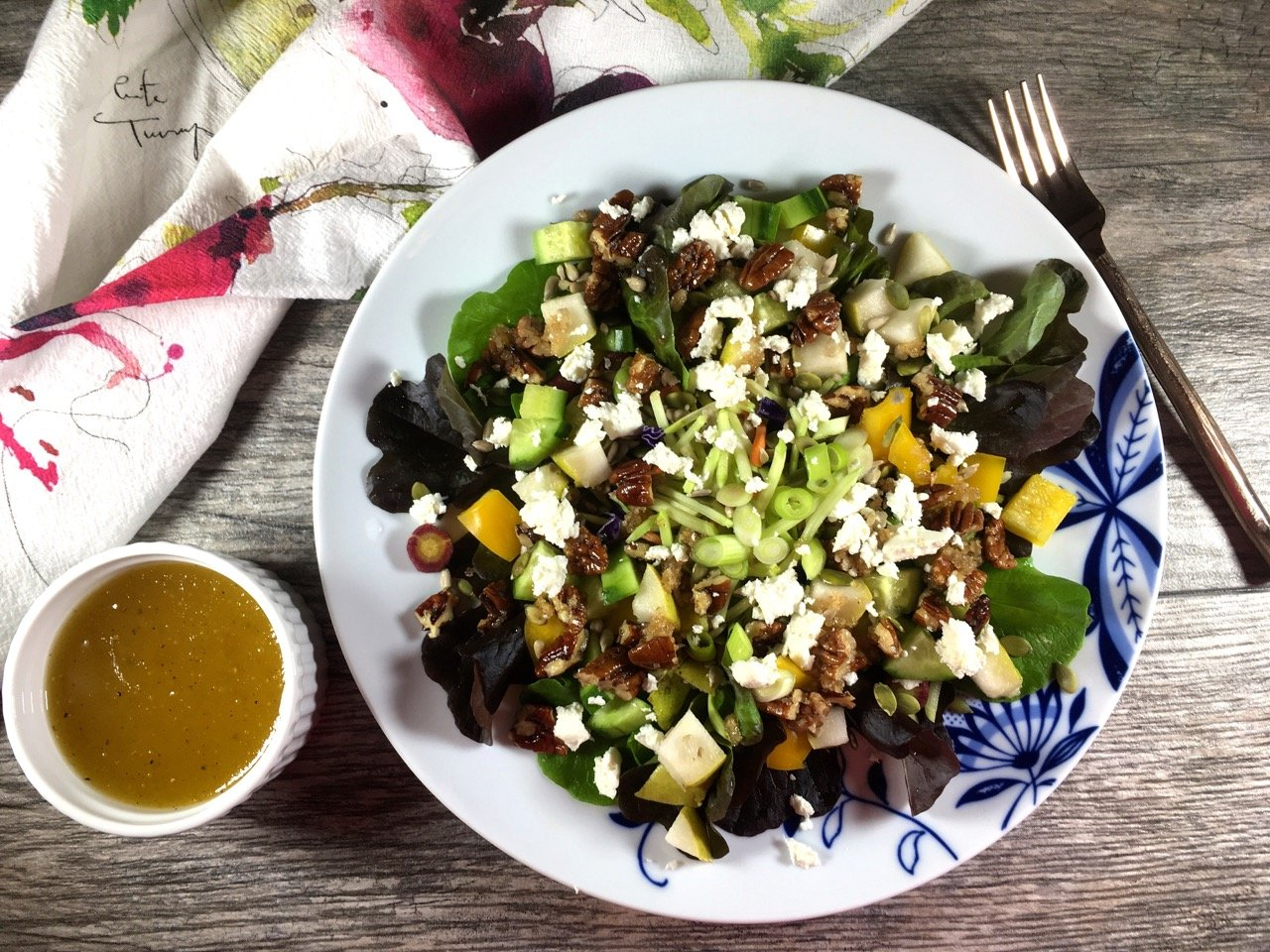 gluten-free seasonal salad recipe with apple cider honey vinaigrette