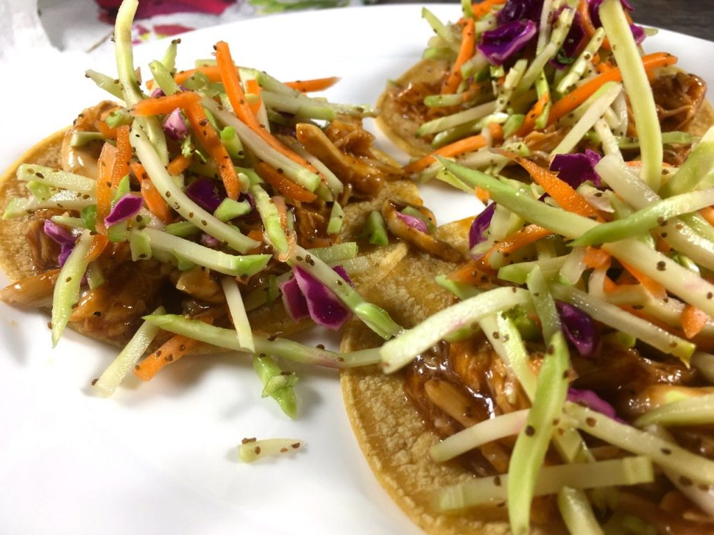gluten-free healthified bbq chicken tacos with slaw