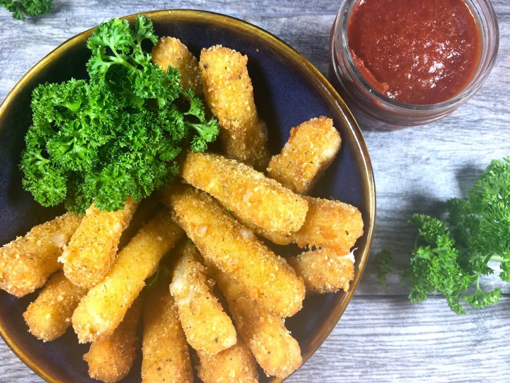 gluten-free fried cheese sticks made with goat cheese mozzarella