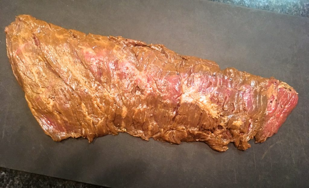 Pepper Lime Marinated Sirloin Flap before cooking on the grill