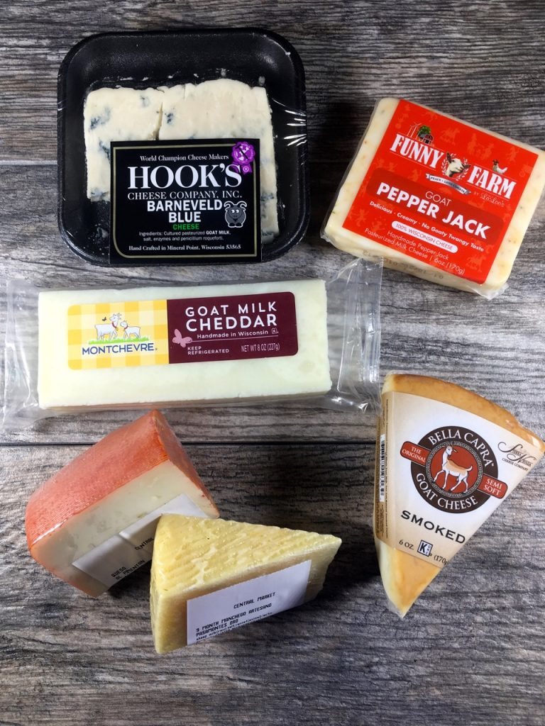 A variety of goat cheese from Wheatsville and Central Market (blue cheese, cheddar, specialty, smoky, pepper jack)
