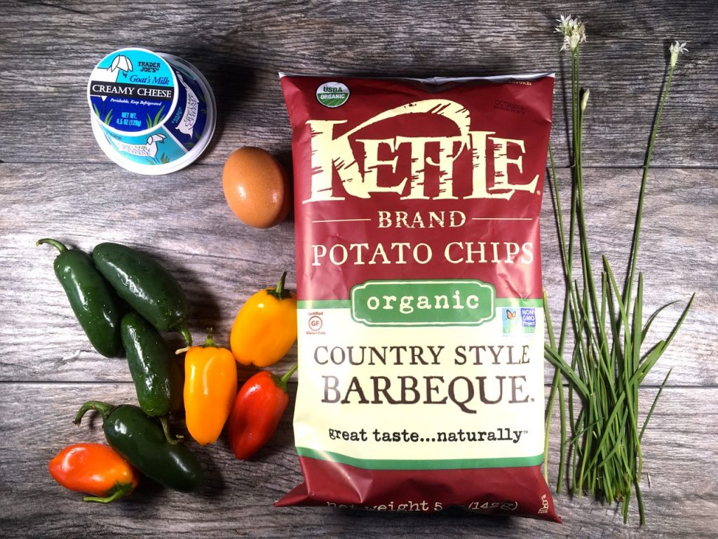 Ingredients to make Jalapeño Poppers with Goat Cheese and Kettle Brand BBQ Chips
