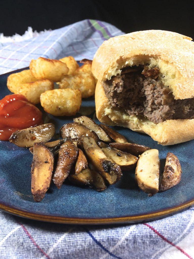 Bison Mushroom Burgers, Crispy Fried Shallots, Schär Gluten-Free Ciabatta Bread, Tater Tots and Grilled Mushrooms