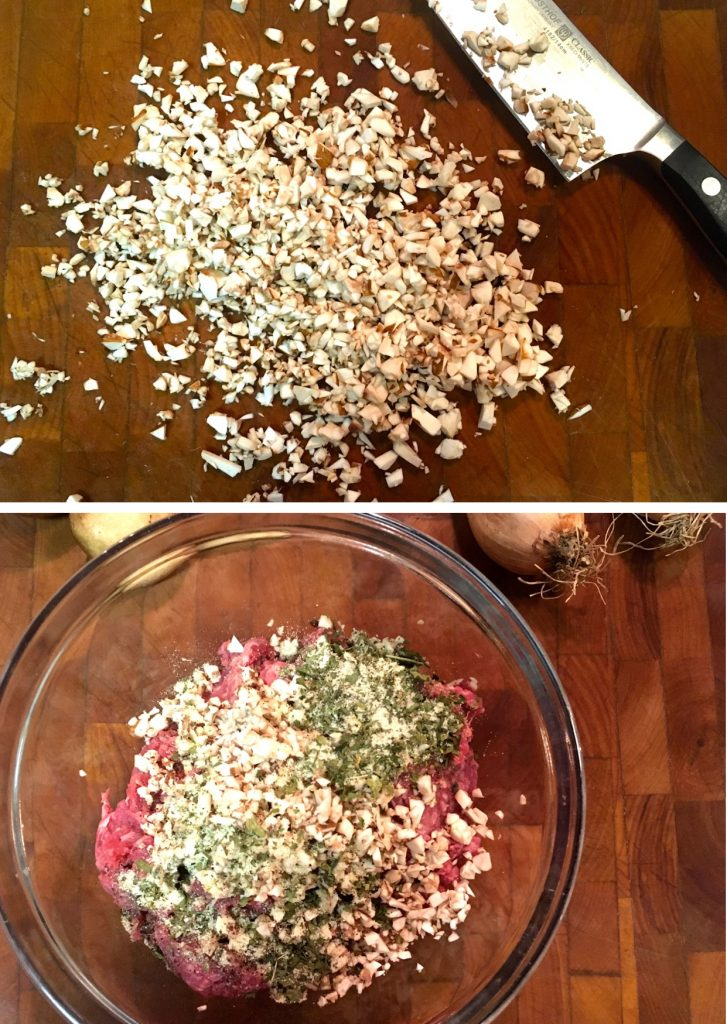 Chopped Mushrooms and Ingredients for Bison Mushroom Burgers