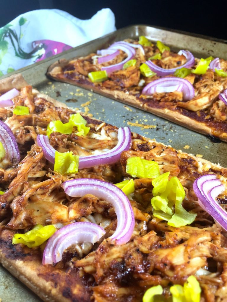 BBQ chicken pizza made with a Schär puff pastry dough crust