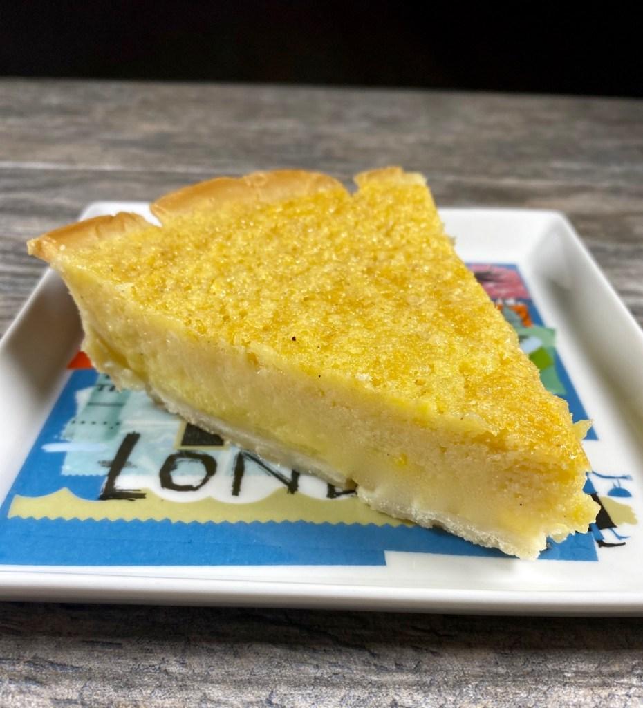 Kinda Buttermilk Pie made with goat milk yogurt is part of the Gluten-Free Thanksgiving Menu Plan