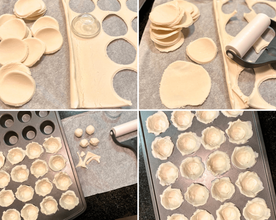 Prepping the Schär gluten-free puff pastry dough for mini pizza bites