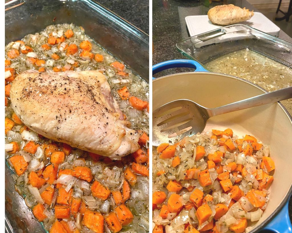 After roasting the chicken and veggies remove the chicken, scoop out the veggies