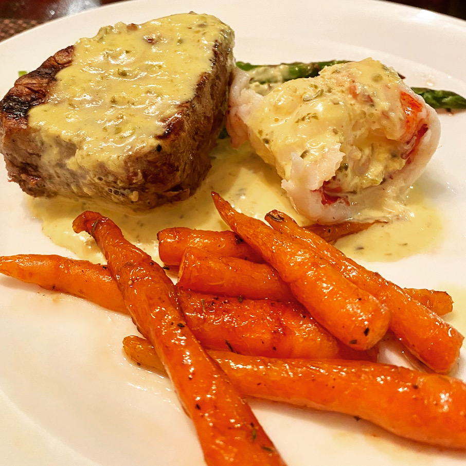 Cayenne Date Nectar Carrots, Filet Mignon, Lobster, Asparagus, and Faux Béarnaise sauce