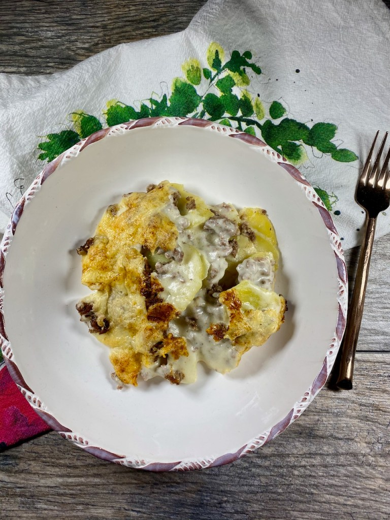Gluten-Free Beef Scalloped Potatoes with goat milk semi-soft cheese