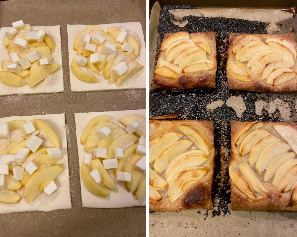 Apple Slices on Schär gluten-free puff pastry then covered in organic cane sugar and goat butter then cooked in the oven