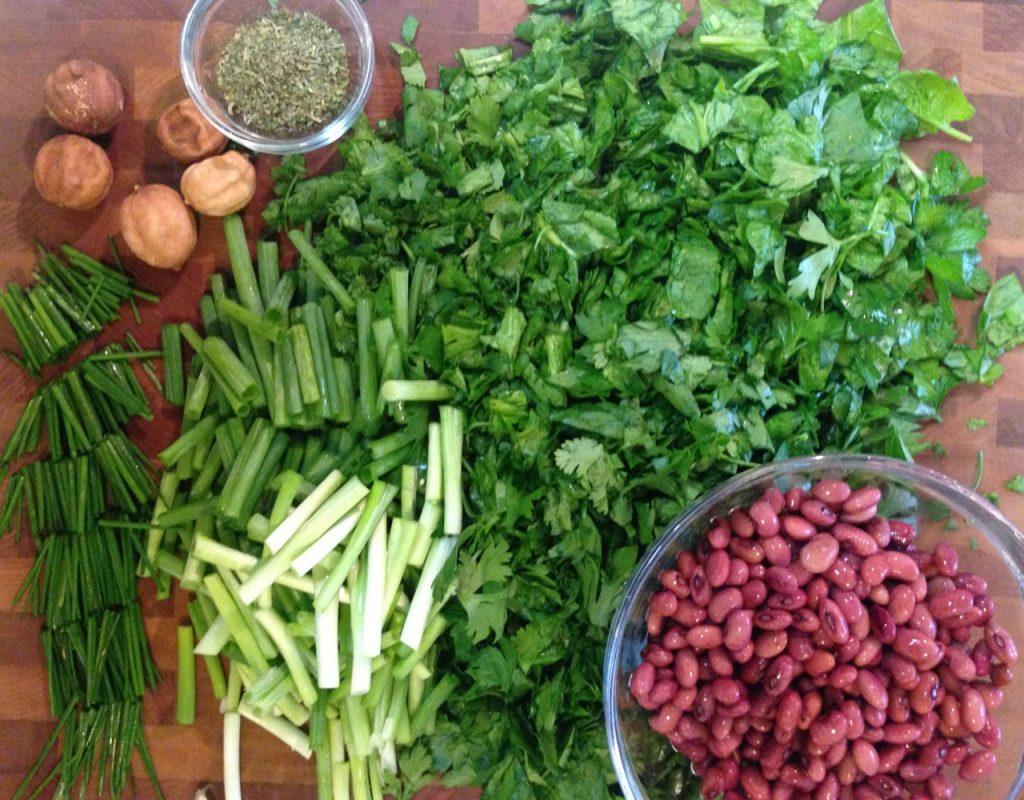 Vegetable Prep for Ghormeh Sabzi