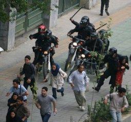 Iranian Revolutionary Guards Corps terrorize pro-democracy demonstrators in 2009.