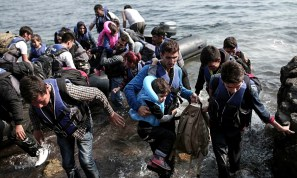 Syrian refugees crossing the Mediterranean into Europe.