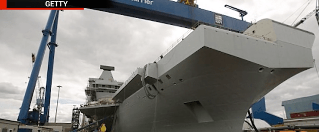 The HMS Queen Elizabeth, set for launch in 2020 will be the world's second-largest aircraft carrier (behind the U.S.S. Nimitz) and will be in service for 50 years. Image courtesy of Getty Images.