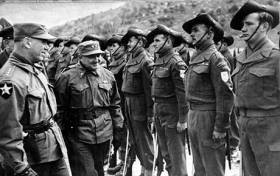 U.S. Army General inspects an Australian unit fighting alongside U.S. forces during the Korean War.