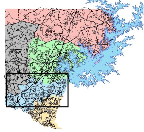 South Forsyth High School Location In Blue On Map