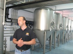 Being shown around the brewery