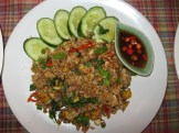 Spicy Fried Rice with Holy Basil - top view