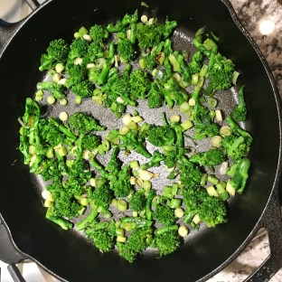 The Well-Intended's Broccolini and Green Onions Saute for Frittata