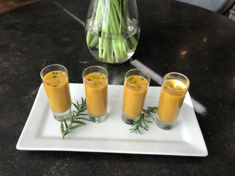 The Well-Intended Butternut Squash Soup Shooters, Rosemary