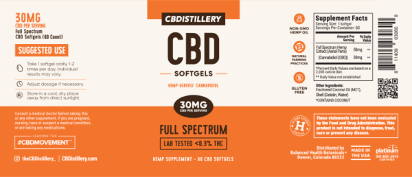 cbd-kafe,Full Spectrum CBD Softgels – 30mg – 60 Count,CBDistillery,Full Spectrum