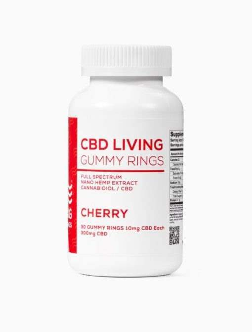 cbd-kafe,CBD Living Cherry Gummy Rings Bottle of 30,CBD Living,Full Spectrum
