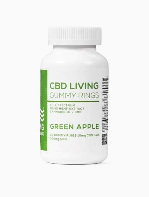 cbd-kafe,CBD Living Green Apple Gummy Rings Bottle of 30,CBD Living,Full Spectrum