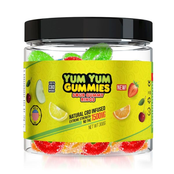 Yum Yum Gummies 1500mg - CBD Infused Sour Gummy Rings