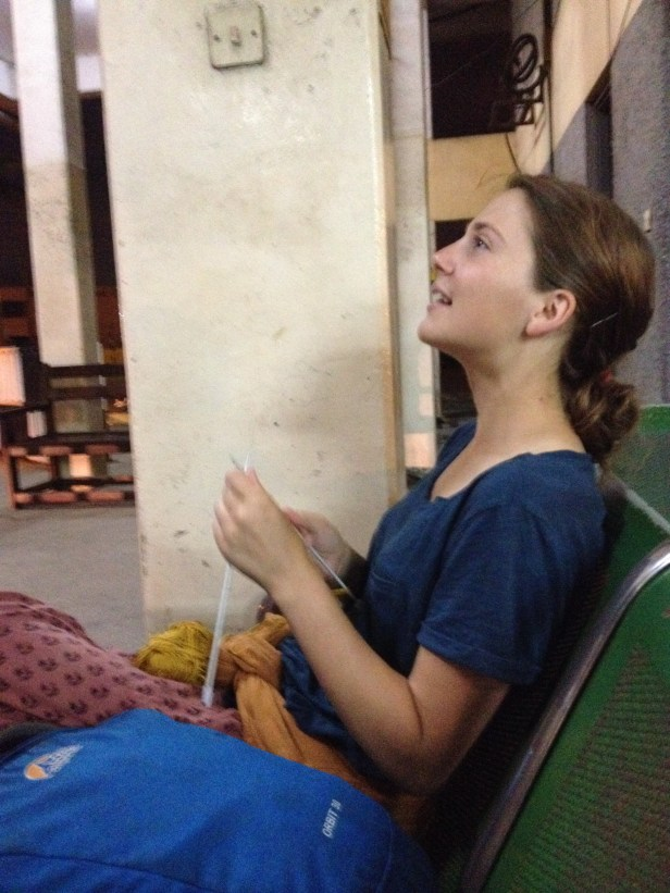 So this is Freya at the Bus station at 4:30 AM. Yes she is knitting! Her newest aspiration in life (as if it wasn't enough to be an epidemiologist bas-ass) is to knit her very own socks. So far it's a long process. Hopefully Mom can give her some pointers!