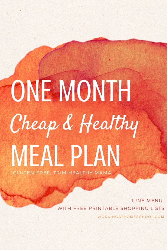 A full month of frugal and healthy meals with printable shopping lists! Breakfasts, lunches, dinners, and snacks - all work for THM, too!