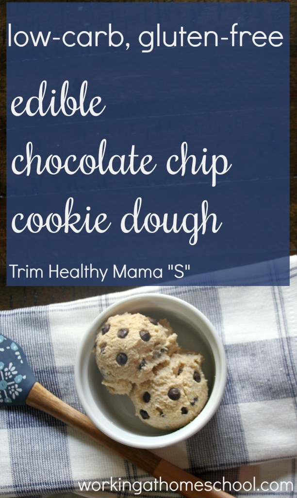 """This edible low-carb cookie dough is SO GOOD! This recipe is gluten-free, and it works as an """"S"""" for Trim Healthy Mama"""