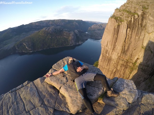 Relaxing after a 2 hour hike to the top of Preikestolen (Pulpit Rock)