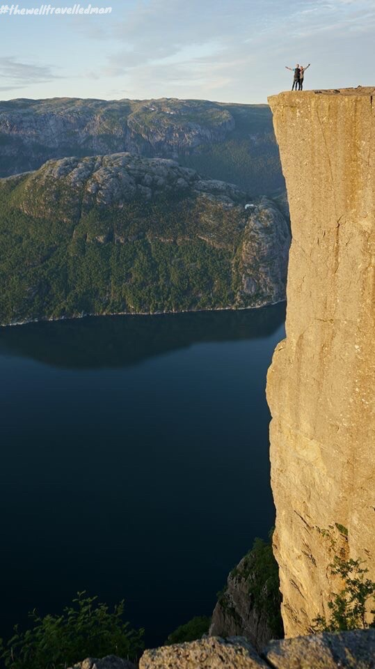 Standing at the corner of Pulpit Rock - 604m drop down to the Fjord!