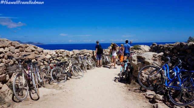 The walkway down to Cala Rossa, Favignana - cycling is the best form of transportation on the island