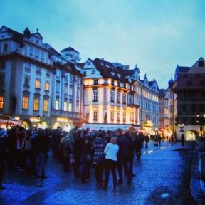 Prague's main square by night