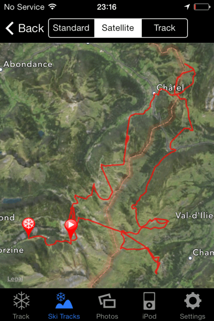 Ski Tracks App route - the Swiss circuit