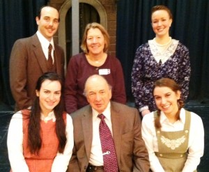 The cast of My Heart in a Suitcase with Westfield Foundation Executive Director, Betsy Chance and Sig Silbur, a survivor of the Kindertransport.