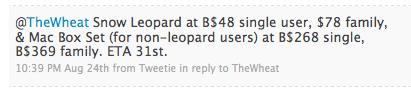 Snow Leopard Prices in Brunei