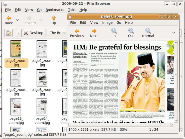 Screenshot of downloaded files
