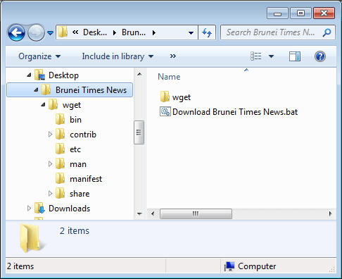 wget folder in the same directory as the download script