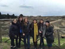 Morgan, Raffaela, Mrs. Vasselman, Jennifer, Samantha and Olivia enjoy Pompeii