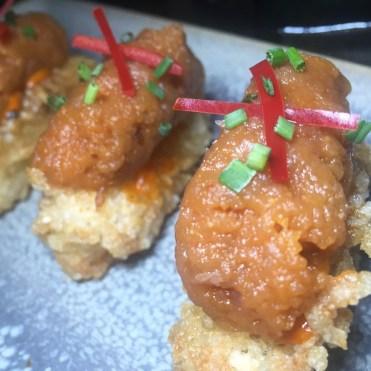 CRISPY TUNA: Bazi rice, spicy mayo and chives