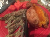Steak Strips, Baked Sweet Potato, & Watermelon